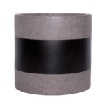 Sticks and Stones Outdoor - Cylinder Pot Concrete Pot Black Band around middle