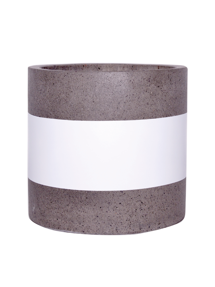 Sticks and Stones Outdoor - Cylinder Pot White Band